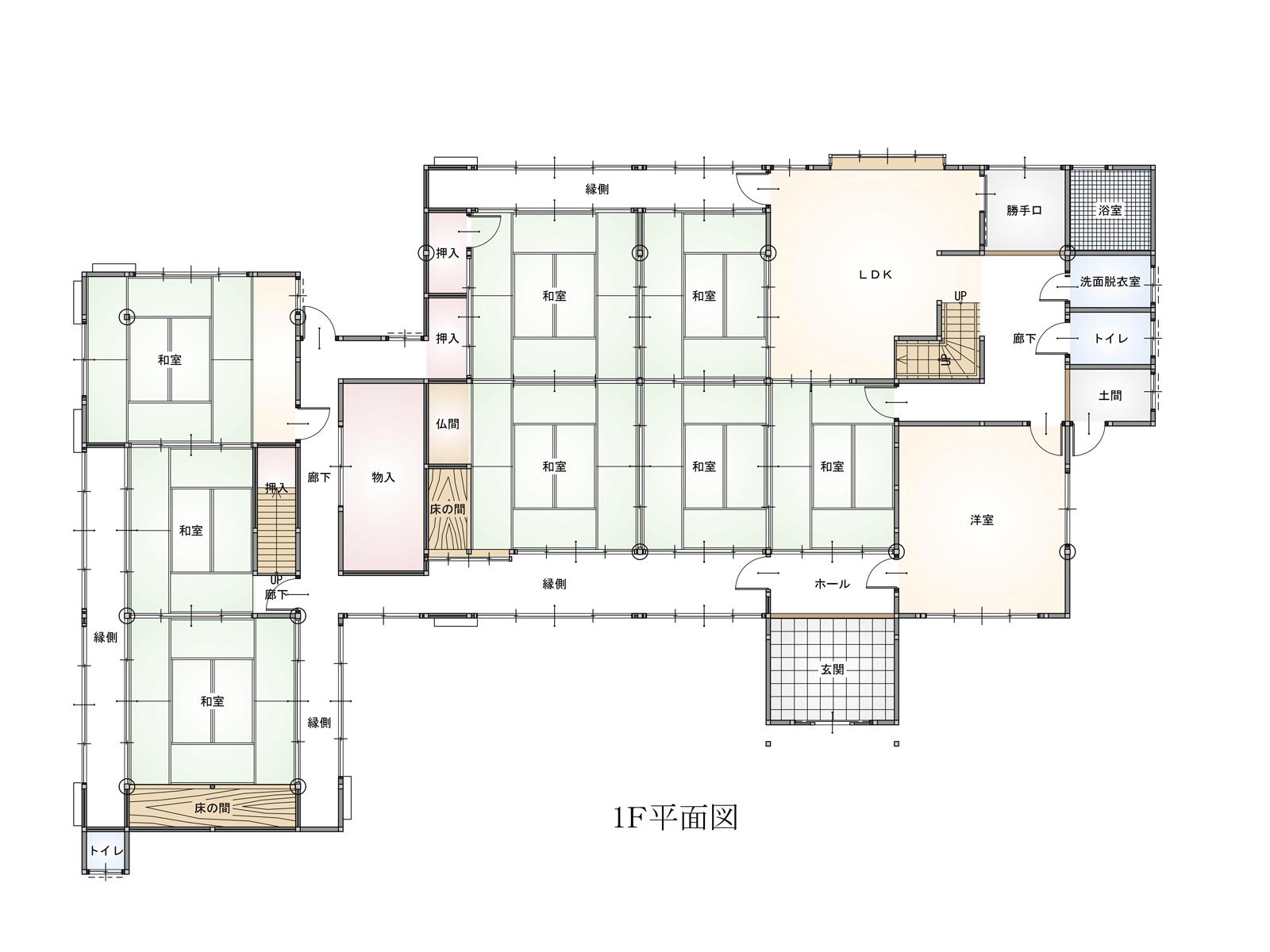 敏満寺物件平1F面図 © 株式会社丸由 | 建築/屋根工事業、宅建業、太陽光発電工事業を専門とする建設会社です